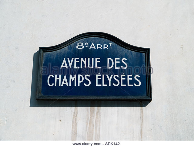Road Sign Avenue Des Elysees Stock Photos Road Sign