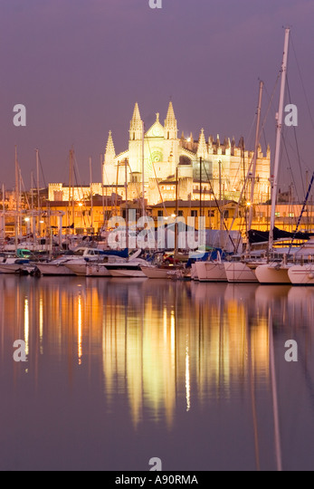 Spain Mallorca kathedral dawn port - Stock Image