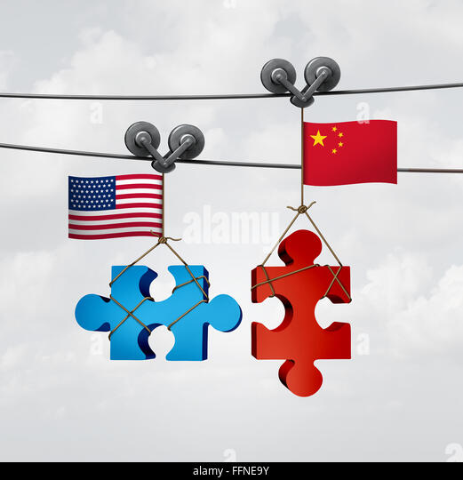 American and Chinese cooperation success as two pieces of a jigsaw puzzle fron the United States and China coming - Stock Image