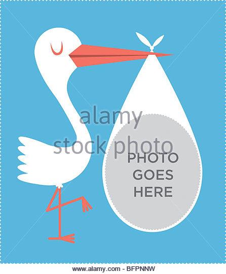 Stork Baby Photo Frame Blue - Stock-Bilder