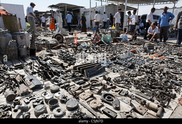 Turkmenistan - Ashgabat - Sunday Market - display of car parts for sale - Stock Image