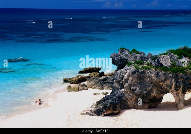 Bermuda Arches Near Tucker s Town Landmark Geology pink beach - Stock Image