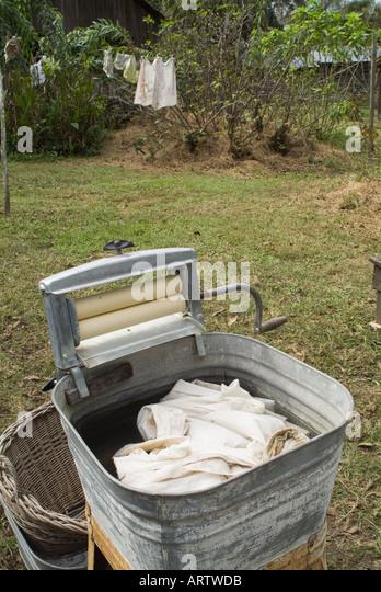 laundry washer old fashioned washtub wash tub Dudley Farm Historic State Park Newberry Florida antiques antique - Stock Image