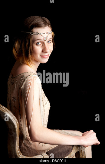 flapper, girl. teenager, vintage, style - Stock Image