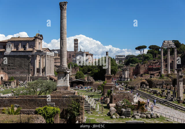 Roman Forum in the city of Rome, Italy. Including: the Temple of Antoninus and Faustina, Temple of Venus and Rome, - Stock Image