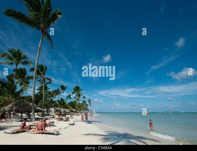 Bavaro Beach at Catalonia Royal Bavaro Hotel, Punta Cana, Dominican Republic - Stock Image