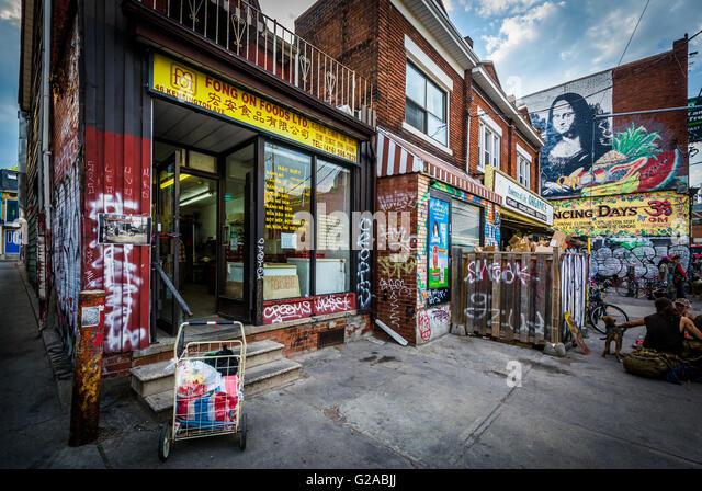 Businesses in Kensington Market, Toronto, Ontario. - Stock Image