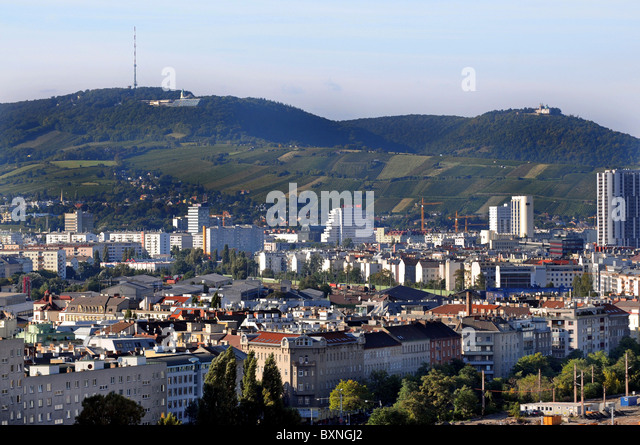 Vienna. Austria, view over part of the city with views to the vineyards of the 19th district including Grinzing - Stock Image