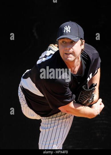 15 FEB 2011: Brian Schlitter of the New York Yankees during the spring training workout at George Steinbrenner Field - Stock Image