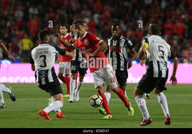 Benfica«s forward Jonas from Brazil (C) during the Premier League 2017/18 match between SL Benfica v Portimonense - Stock Image