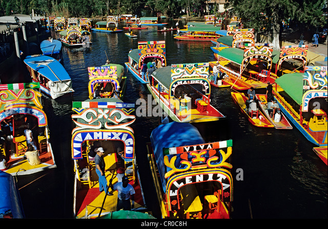 Mexico Federal District Mexico City Xochimilco listed as World Heritage by UNESCO trajineras (traditionals boats) - Stock Image