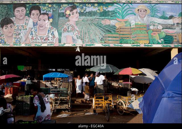 Market mural, Oxkutzcab, Yucatan, Mexico - Stock-Bilder