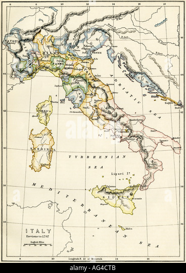 Map of Italy showing political divisions before 1797 - Stock Image