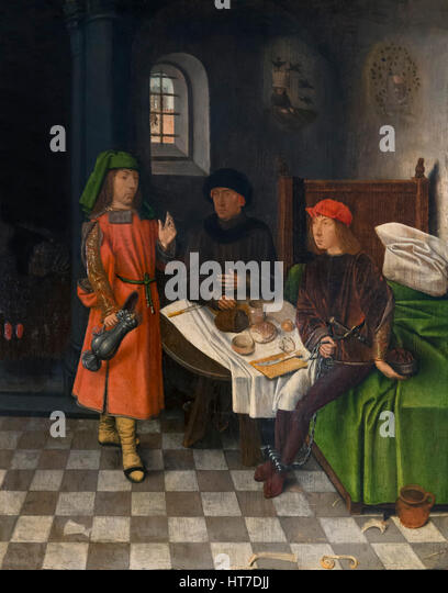 Joseph Explaining the Dreams of the Baker and the Cupbearer, by Jan Mostaert, circa 1500, Royal Art Gallery, Mauritshuis - Stock Image