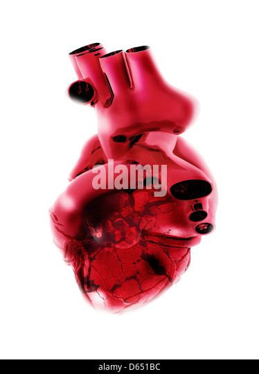 Broken heart, conceptual artwork - Stock Image