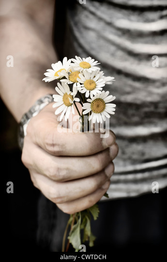 Holding flowers - Stock Image