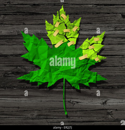 Environmental preservation concept as a cut out of broken torne green crumpled paper repaired with tape as a conservation - Stock Image