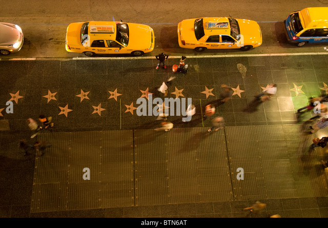 Stars on sidewalk of Hollywood Walk of Fame Hollywood Boulevard Hollywood Los Angeles Southern California USA - Stock Image