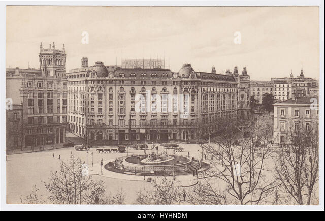 Palace Hotel & Plaza Cánovas del Castillo, Madrid, Spain - Stock Image