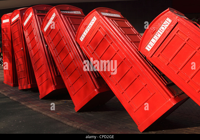 British red K2 telephone boxes, David Mach's Out of Order sculpture, at Kingston-upon-Thames, a suburb of London, - Stock Image