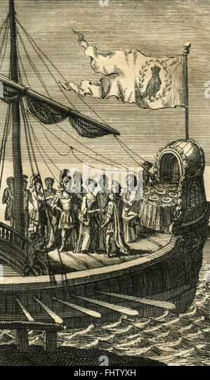 On the ship, vintage Print - Stock Image