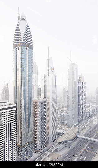 Modern architecture, high-rise buildings, Sheikh Zayed Road, Downtown Dubai, Dubai, United Arab Emirates, Middle - Stock-Bilder