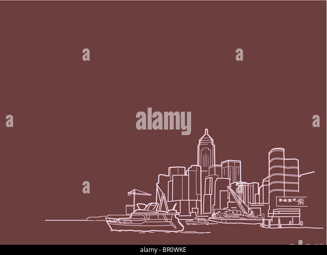An illustration of buildings at the waterfront - Stock-Bilder