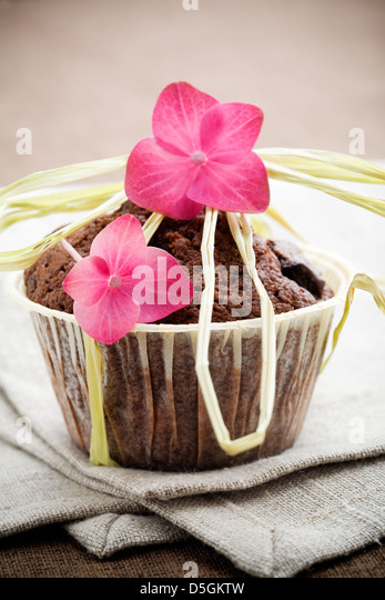 Delicious decorated chocolate muffins with selective focus - Stock Image