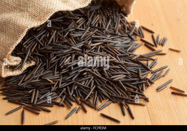 Raw black wild rice from a jute bag - Stock Image