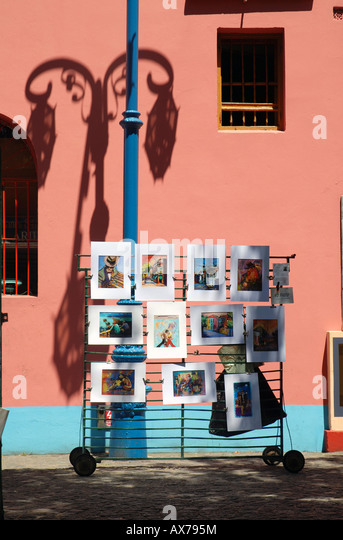 Art sold on Calle Caminito in the neighborhood of La Boca in Buenos Aires, Argentina. - Stock Image