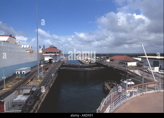 Republic of Panama Panama Canal ships inside locks - Stock Image