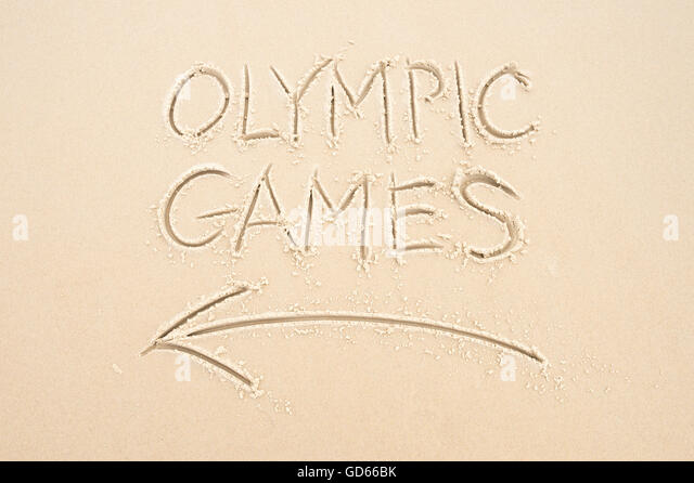 RIO DE JANEIRO - APRIL 4, 2016: Handwritten message with arrow pointing the way to Olympic Games written in smooth - Stock Image