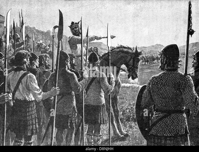 Robert the Bruce Reviewing His Troops Before the Battle of Bannockburn - Stock Image