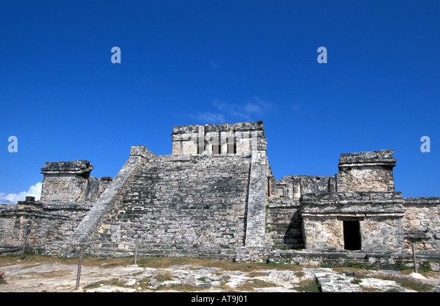 tulum mexico the castle pyramid - Stock Image