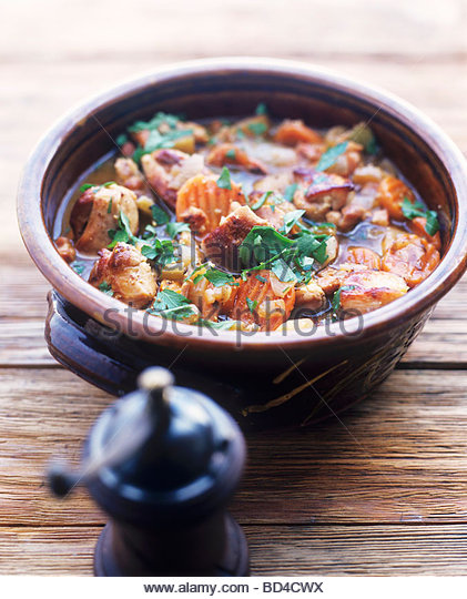 Belly pork and vegetable stew - Stock Image