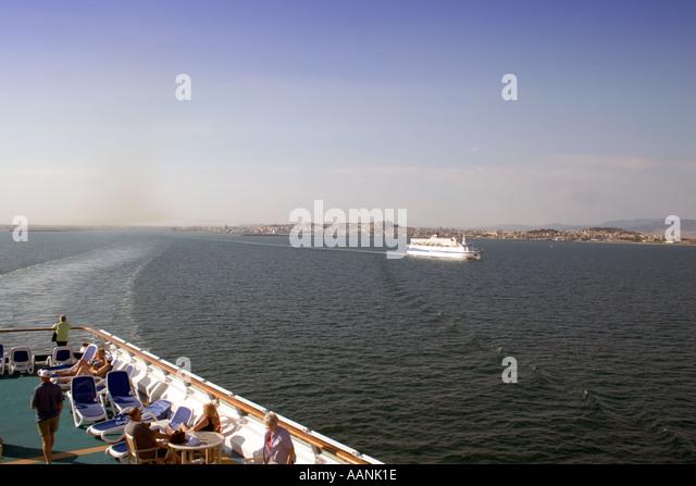Passengers on a Cruise Ship leaving Cagliari, Sardinia , Europe, - Stock Image