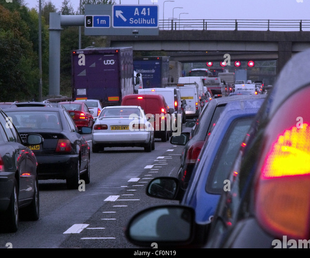 Slow traffic on the M42 Motorway near Solihull and Shirley, Birmingham, UK - Stock Image