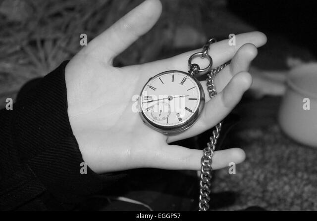 time, pocket watch, vintage, chain, black and white, photography, fantasy, mad hatter, costume, - Stock Image