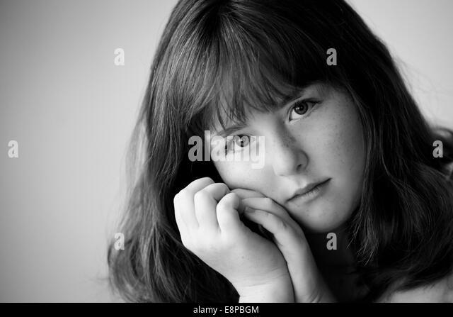 Portrait of teenage girl (13-15) - Stock Image