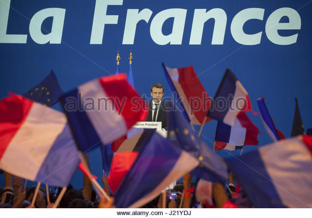 Paris, France. 23rd Apr, 2017. French presidential election candidate for the En Marche ! movement Emmanuel Macron - Stock Image