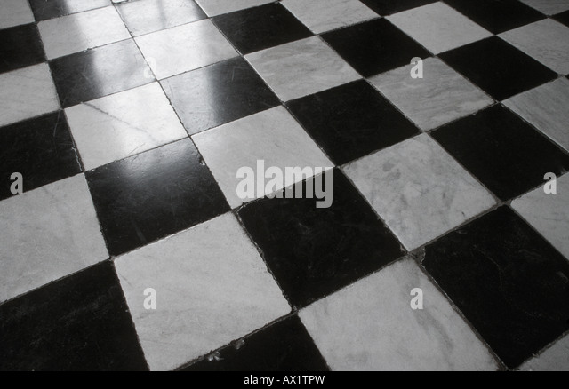 black and white tile floor texture. Black And White Marble Tiled Floor - Stock Image Tile Texture