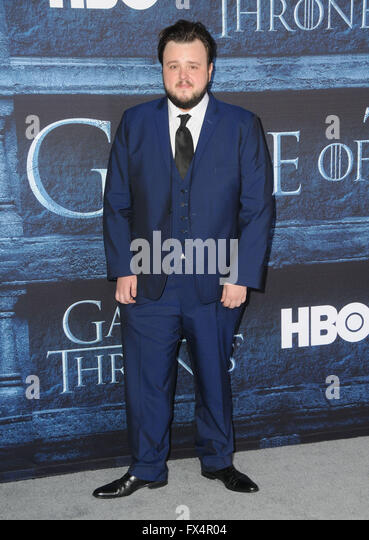 Hollywood, CA, USA. 10th Apr, 2016. John Bradley. Arrivals for the Premiere Of HBO's ''Game Of Thrones'' - Stock Image