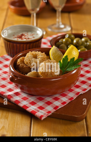 Deep fried calamari or squid - Stock Image