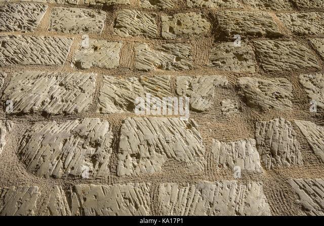 Limestone wall texture - France. - Stock Image
