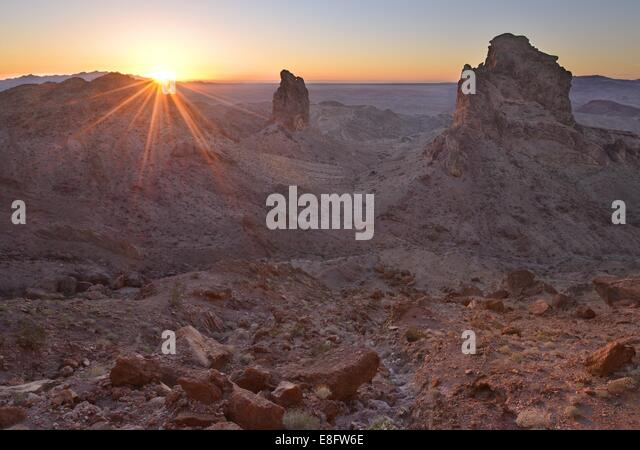 USA, California, Picacho Peak Wilderness, Sentinels of Picacho Sunset - Stock Image