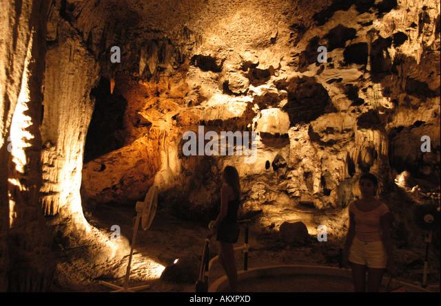 Curacao Hato Caves underground cavern tourist attraction stalactites stalagmites caribbean geology - Stock Image