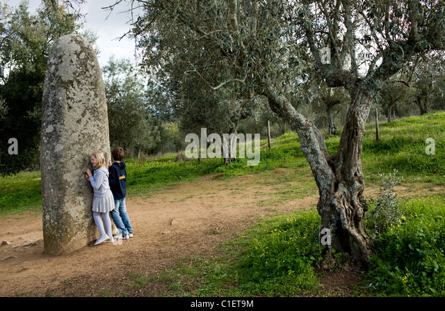 The Menhir of Almendres, near Evora, Portugal, Alentejo Region - Stock Image