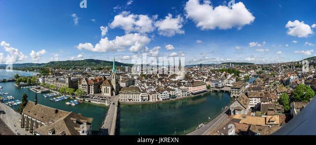 Panoramic view from Grossmunster, Zurich, Switzerland - Stock Image