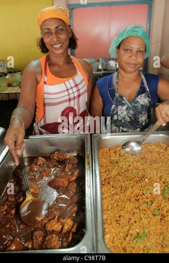 Curaçao Netherlands Antilles Dutch Willemstad Punda De Ruyterkade Plasa Bieu Old Market vendor tray Black Creole - Stock Image