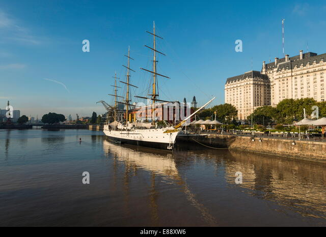 View from the Puente de la Mujer of the Museo Fragata Sarmiento and river, Puerto Madero, Buenos Aires, Argentina - Stock Image